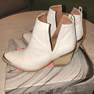 Jeffrey Campbell white snake booties